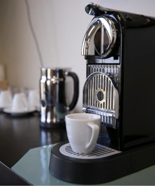An espresso machine in a Boca Raton office building.