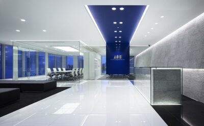 Office interior with various amenities