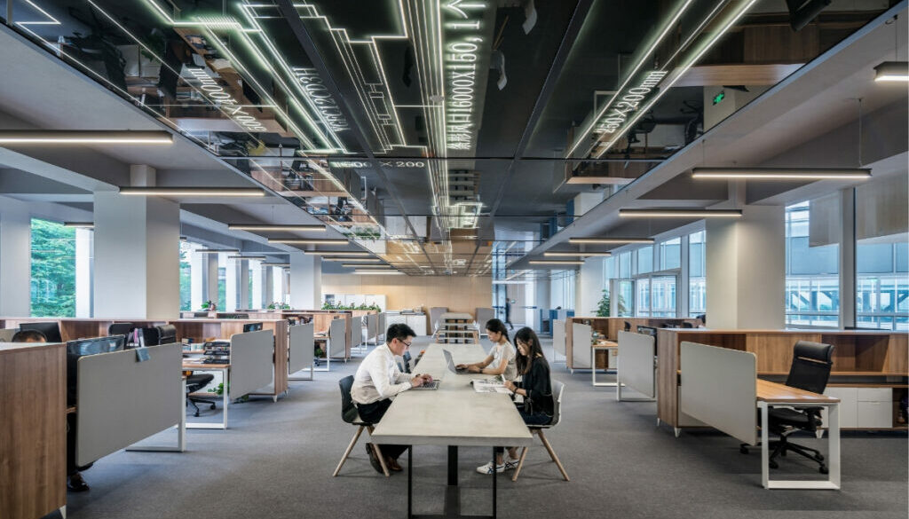 A beautiful office space where people are working.