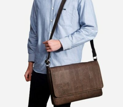 man wearing a Corkors messenger bag