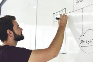 A man writing goals on a whiteboard