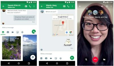 Screenshot of Google Hangouts interface