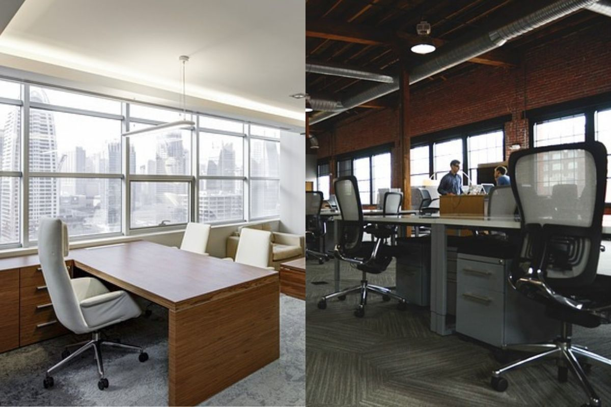 Side by side comparison of an executive suite and a conventional office space.