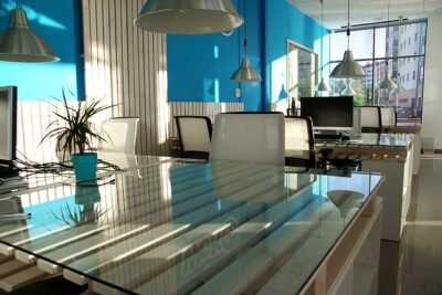 A small office design that takes advantage of natural light.