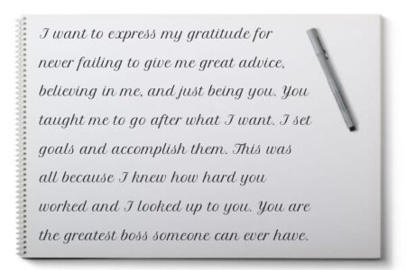 An example of handwritten appreciation message for boss