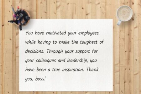 An example of a handwritten thank you note for your boss.