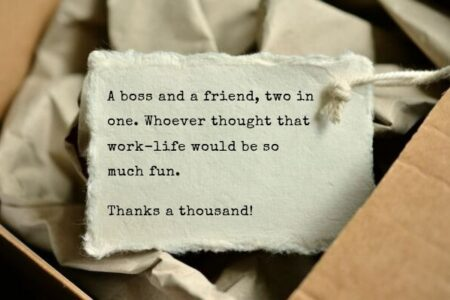 An example of a short and simple thank you message for boss typewritten in a gift card.